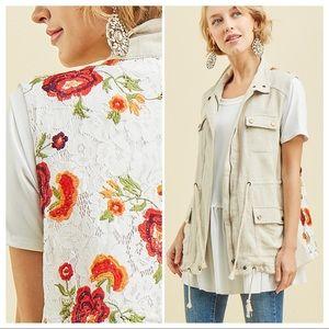 Floral Lace & Linen Military Style Vest